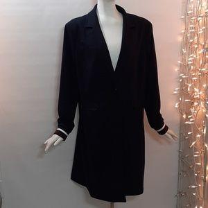 Plus 1X HALOGEN Stylish Dark Blue Lined Coat